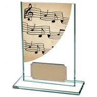 Colour Curve Music Jade Glass Trophy Award 125mm : New 2020