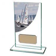 Sailing Colour-Curve Jade Crystal Trophy Award 140mm