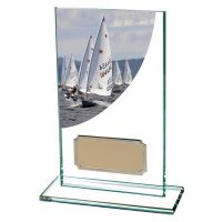 Sailing Colour-Curve Jade Crystal Trophy Award 140mm