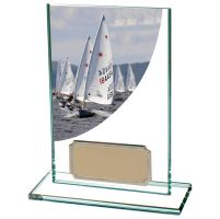 Colour Curve Sailing Jade Glass Trophy Award 125mm : New 2020