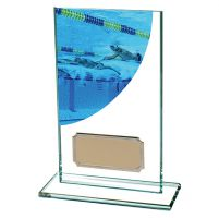 Swimming Colour-Curve Jade Crystal Trophy Award 140mm
