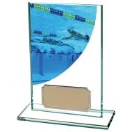 Colour Curve Swimming Jade Glass Trophy Award 125mm : New 2020