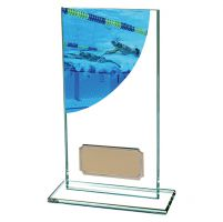 Swimming Colour-Curve Jade Crystal Trophy Award 160mm