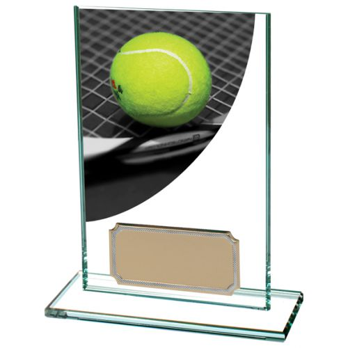 Colour Curve Tennis Jade Glass Trophy Award 125mm : New 2020