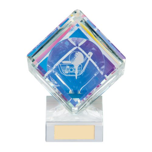 Victorious Golf Cube Crystal Trophy Award 110mm