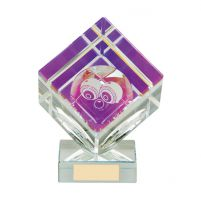 Victorious Lawn Bowls Cube Crystal Trophy Award 110mm