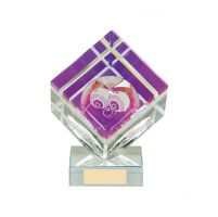 Victorious Lawn Bowls Cube Crystal Trophy Award 90mm