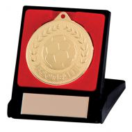 Discovery Football Trophy Award Medal & Box Gold 50mm