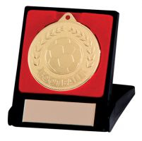 Discovery Football Trophy Award Medal and Box Gold 50mm