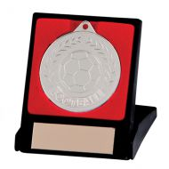 Discovery Football Trophy Award Medal & Box Silver 50mm