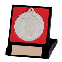 Discovery Football Trophy Award Medal and Box Silver 50mm