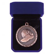 Power Boot Football Medal Box Antique Bronze 50mm : New 2019