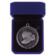Power Boot Football Medal Box Antique Silver 50mm : New 2019