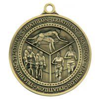Olympia Triathlon Medal Antique Gold 60mm
