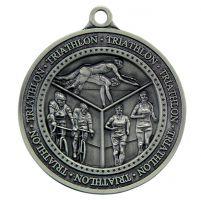 Olympia Triathlon Medal Antique Silver 60mm