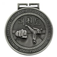 Olympia Taekwondo Medal Antique Silver 70mm