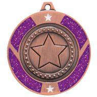 Glitter Star Medal Bronze and Purple 50mm