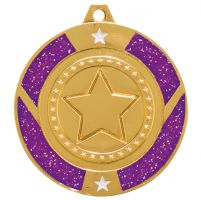 Glitter Star Medal Gold and Purple 50mm
