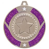 Glitter Star Medal Silver and Purple 50mm