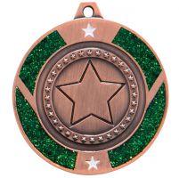 Glitter Star Medal Bronze and Green 50mm