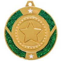 Glitter Star Medal Gold and Green 50mm