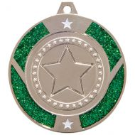 Glitter Star Medal Silver and Green 50mm