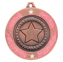 Glitter Star Medal Bronze and Pink 50mm