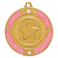 Glitter Star Medal Gold and Pink 50mm
