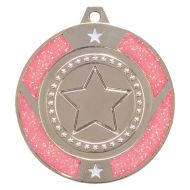 Glitter Star Medal Silver and Pink 50mm