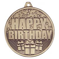 Cascade Happy Birthday Iron Medal Antique Gold 50mm : New 2019