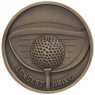 Links Series Longest Drive Golf Medal Gold 70mm