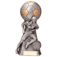 Trailblazer Girls Footbal Heavyweight Antique Silver Trophy 160mm : New 2020