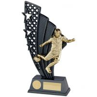 Star Force Football Trophy Award Plastic Plaque Gunmetal and Gold 250mm