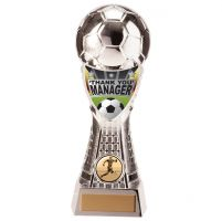 Valiant Football Manager Thank you Trophy Award Silver 205mm : New 2020