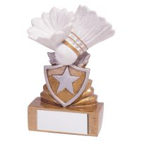 Shield Badminton Mini Trophy Award 95mm : New 2019