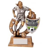 Galaxy Female Football Manager Thank You Trophy Award 125mm : New 2020