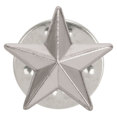 3D Silver Star Pin Badge 12mm : New 2019