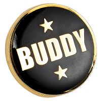 Heritage Buddy Pin Badge Black and Gold 20mm : New 2019