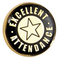 Heritage Excellent Attendance Pin Badge Black and Gold 20mm : New 2019