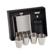 Aintree Polished Steel Flask and Cups 115mm 6oz