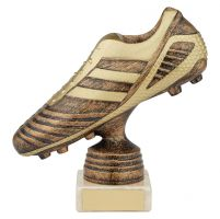 World Striker Premium Football Boot Trophy Award Antique Bronze and Gold 150mm : New 2019