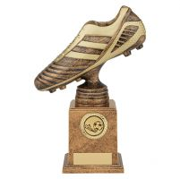 World Striker Premium Football Boot Trophy Award Antique Bronze and Gold 220mm : New 2019
