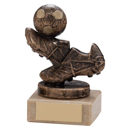 Agility Boot and Ball Football Trophy Award Bronze and Gold 95mm