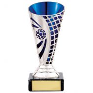 Defender Football Trophy Award Presentation Cup Silver and Blue 140mm : New 2020