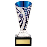 Defender Football Trophy Award Presentation Cup Silver and Blue 150mm : New 2020