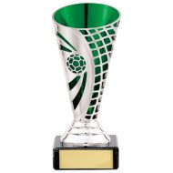 Defender Football Trophy Award Presentation Cup Silver and Green 140mm : New 2020