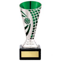 Defender Football Trophy Award Presentation Cup Silver and Green 150mm : New 2020