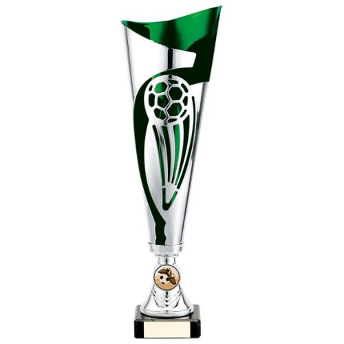 Champions Football Presentation Cup Silver and Green 325mm : New 2020