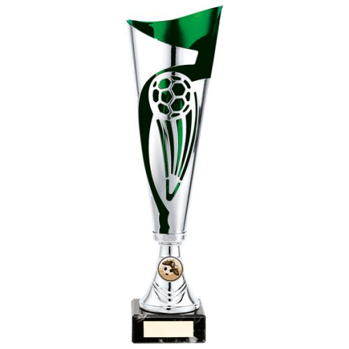 Champions Football Presentation Cup Silver and Green 340mm : New 2020