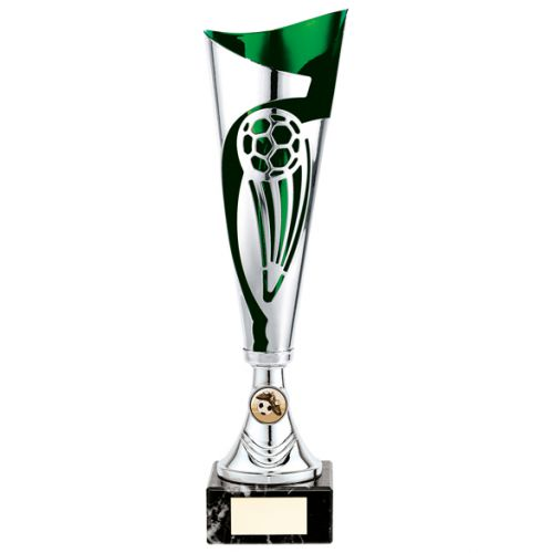 Champions Football Presentation Cup Silver and Green 360mm : New 2020